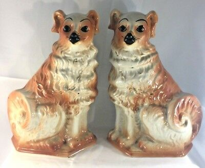 Pair Large Antique Staffordshire Mantle Dogs Bo'ness Pottery Scotland c1900s