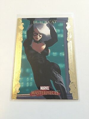Marvel Masterpieces 2007  #9 Black Cat Gold Border Parallel Base Card