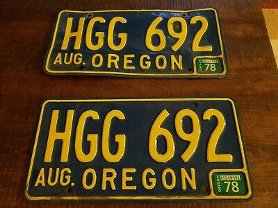 1978 Oregon License Plate Number Tag Pair Plates