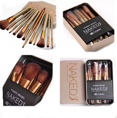 12/pcs Make-up Brush Set With Gold Metal Case Brand New High Quality Brushes