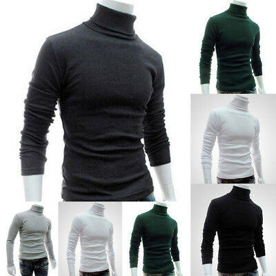 Men Polo Roll Turtle Neck Pullover Knitted Jumper Funnel Neck Tops Sweater