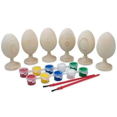 Paint your Own Set of 6 Blank Unfinished Wooden Eggs 3.5 Inches