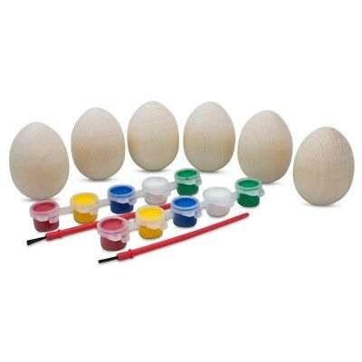 Set of 6 Unfinished Blank Unpainted Wooden Easter Eggs 2.5 Inches