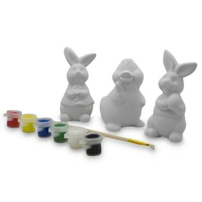 Set of 3 Blank Unpainted Easter Bunnies and Duckling Figurines 4 Inches