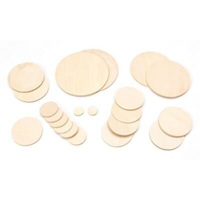 Set of 21 Assorted Blank Unfinished Wooden Circle Cut Outs