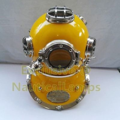 "Boston New U.S navy mark V 18""Diving Divers helmet deep sea chrome yellow finish"