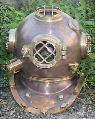 "18"" Full Copper & Brass Diving Helmet / Divers Helmet Us Navy Mark V"