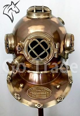 "Deep Sea 18"" Full Copper & Brass Diving Helmet / Divers Helmet Us Navy Mark V"