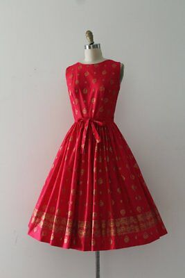 Vintage 1950s 50s Carole Brent Red Wrap Dress - Small