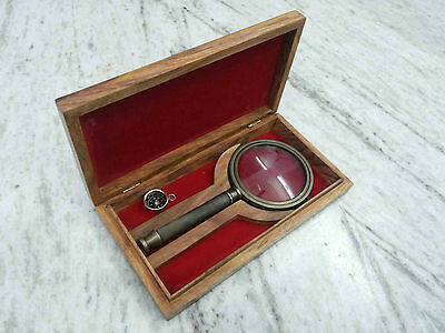 Vintage Magnifier With Wooden Beautiful Box Maritime Table Top Decorative