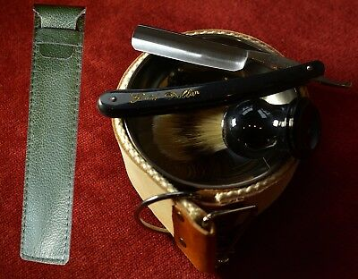 Straight razor, shave ready sharp, strop, bowl, soap case brush all you need  1