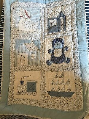 Blue Boys Toys Patchwork Coverlet Cot Quilt Powell Craft 70 X 100 cms (approx)