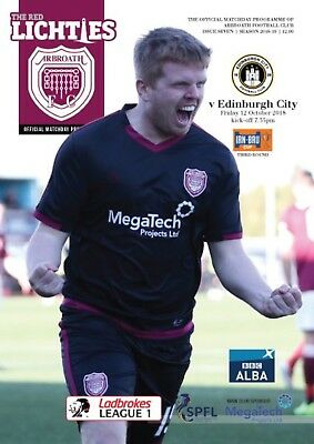 Arbroath v Edinburgh City 2018/19 brand new football programme