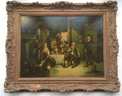 Manner of Sir David Wilkie Original Antique Oil Painting on Panel Rent Collector