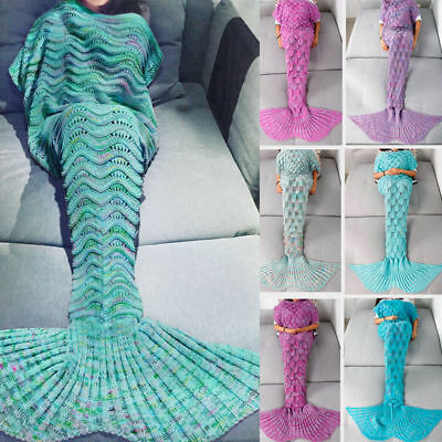 Scaled Mermaid Tail Blanket Crochet Knitting Colour Mixed Super Soft for adults