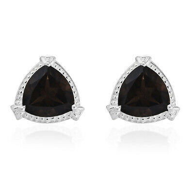 Girls Smoky Quartz Sterling Silver Stud Solitaire Earrings Jewelry Gift