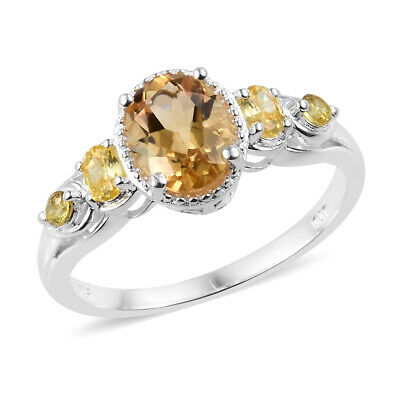 925 Sterling Silver Oval Citrine Cubic Zirconia Yellow CZ Statement Ring