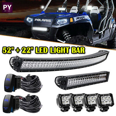 "52Inch curved LED Light Bar+22 inch+4"" CREE Pods Offroad SUV ATV Ford Jeep 50"""