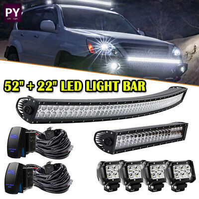 "52inch + 22in LED Light Bar + 4x 4"" Cube Led Pods Off road Truck 4WD ATV UTE 50"""