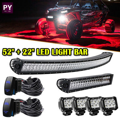 "Curved 50Inch LED Light Bar + 22in +4"" CREE PODS OFFROAD SUV 4WD ATV VS 52/20"