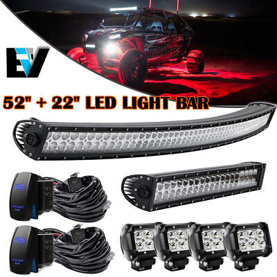"""50"""" Curved LED Light Bar + 22in + 4"""" CREE Pods Offroad SUV ATV Ford Jeep 52"""""""