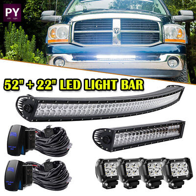 "52inch 300W Combo Led Light Bar+22inch 120W & 4X 4"" Spot Cube Pods+2pcs Wirings"