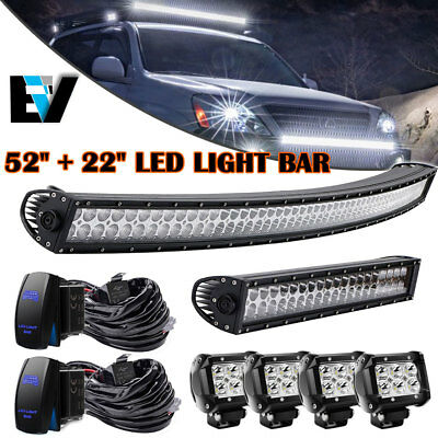 """52Inch Curved Led Light Bar+22""""+4inch Cree Pods OFFROAD SUV 4WD CHEVY GMC RAM 50"""