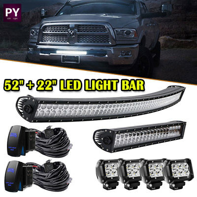 "Offroad 52"" 300W Curved LED Light Bar+22 Inch + Wiring Combo Driving Truck SUV"