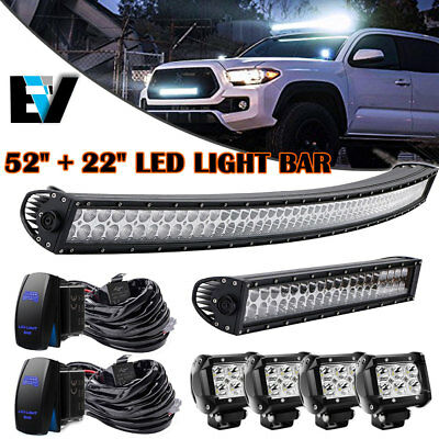 """52Inch 300w Led Off road Light Bar Combo + 22""""+4"""" CREE pods 4x4 Switch Jeep 52"""""""