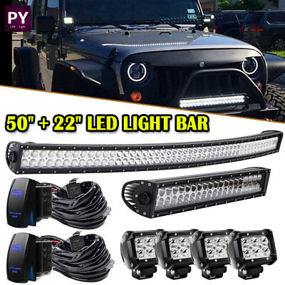 """50Inch LED Light Bar Curved+22'' Combo+4"""" PODS OFFROAD SUV 4WD Jeep Tractor Boat"""