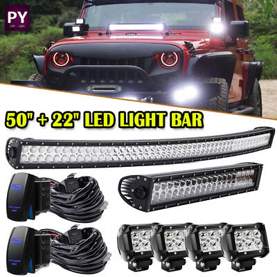 "50"" Inch Curved +22'' Inch LED Light Bar +4'' Pods Combo for jeep Toyota 4WD 52"