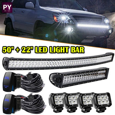 "50"" Curved Led Light Bar+20/22"" 120W+4"" pods Combo Kit 2005-17 for Toyota Tacoma"