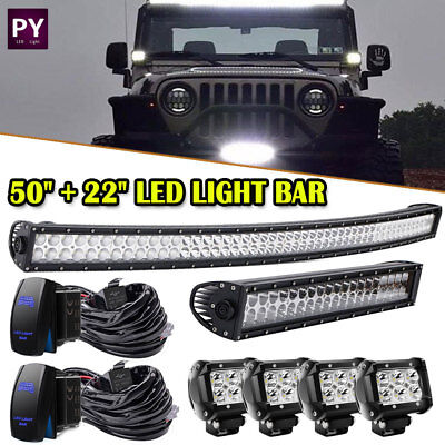 "50inch + 22in LED Light Bar + 4x 4"" Cube Led Pods Off road Truck 4WD ATV UTE 50"""