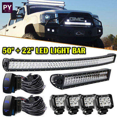 "50"" Curved Led Light Bar+20/22""+4"" pods Lamp Combo Kit Ford F250 F350 Super Duty"