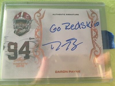 Daron Payne Leaf Trinity Rc Auto Washington Redskins NFL