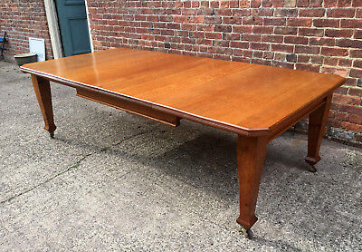 Superb Antique Victorian Arts & Crafts Solid Oak Windout Dining Table Seats 10.