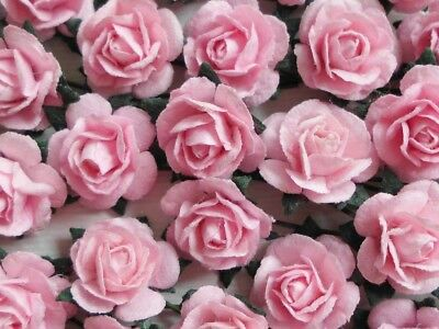 100! Cute Handmade Mulberry Paper Roses - 10mm - Pale Pink Rose Embellishments!