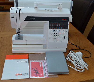 vintage Elna 6000 computerised sewing machine with accessories