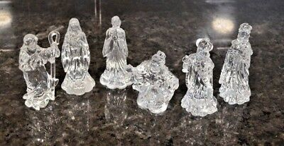 Nativity Set 5 inch Crystal Clear Acrylic Faceted 6 pc. NWOB