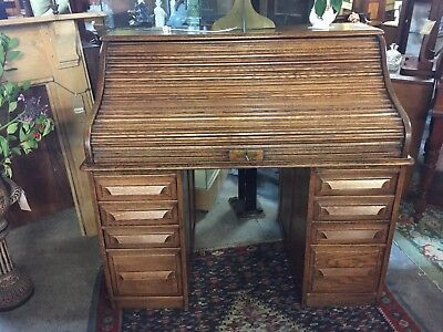 Original Oak roll top desk vintage. Good condition given age.