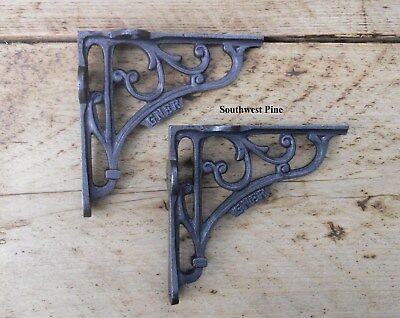 Classic Pair Of GNER Victorian Scroll Antique Style Cast Iron Shelf Brackets 5""
