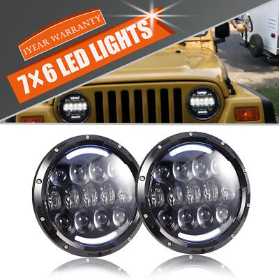 "DOT 7"" LED Round Headlight FOR Volkswagen VW Beetle Classic TJ Amber Hi/Low Beam"