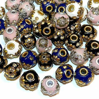 IB213 Assorted Color 18mm Round Embellished Indonesia-Style Focal Beads 9pc