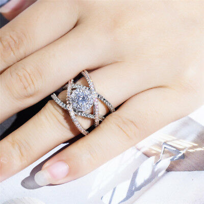 Infinity Two Tone 925 Silver Rings for Wedding Women White Sapphire Size 5-12