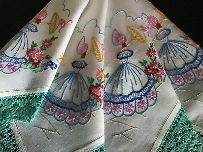 Lovely Vintage Hand Embroidered Tablecloth ~ Crinoline Ladies/lace