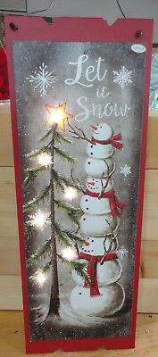 Christmas -  Snowman - Let It Snow  --LED Lighted Wood Sign