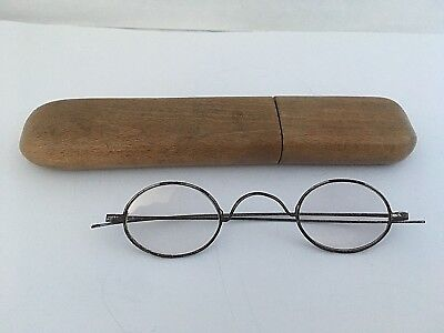 ANTIQUE Victorian era WIRE STEEL EYEGLASSES round with wooden case ,110mm wide