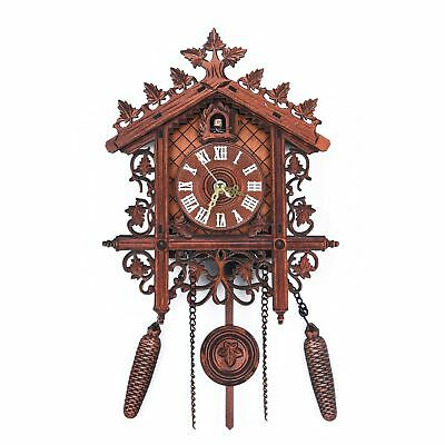 Vintage Wall Clock Handcraft Wood Cuckoo Clock Tree House Art Home 3D feeling