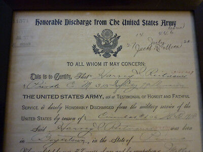 WW1 Honorable Discharge Letter