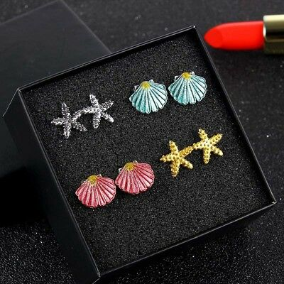 Lovely 4 Pairs/Set Women Colorful Shell Starfish Beach Ear Stud Earrings Jewelry